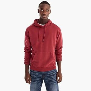 JCrew garment dyed maroon French terry hoodie
